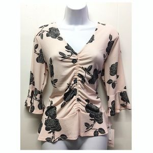 Candies | NWT Pink & Rose Ruched 3/4 Sleeve Top
